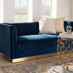 Baxton Studio Aveline Glam & Luxe Navy Blue Velvet Fabric Upholstered Brushed Gold Finished Sofa – TSF-BAX66113-Navy Gold-SF1