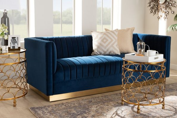 Baxton Studio Aveline Glam & Luxe Navy Blue Velvet Fabric Upholstered Brushed Gold Finished Sofa – TSF-BAX66113-Navy Gold-SF
