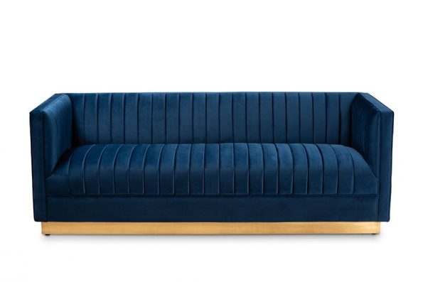 Baxton Studio Aveline Glam & Luxe Navy Blue Velvet Fabric Upholstered Brushed Gold Finished Sofa – TSF-BAX66113-Navy Gold-SF2