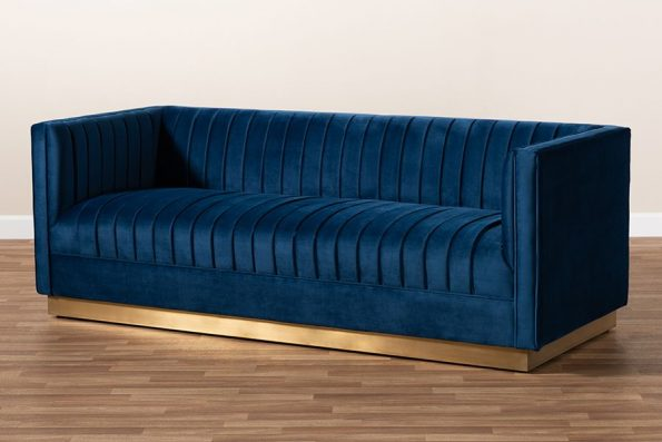 Baxton Studio Aveline Glam & Luxe Navy Blue Velvet Fabric Upholstered Brushed Gold Finished Sofa – TSF-BAX66113-Navy Gold-SF5